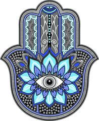 black and blue hamsa design
