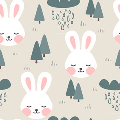 Rabbit and Fox seamless pattern background, Sleepy cute bunny in the woodland forest, Vector illustration