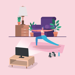 Woman doing yoga on mat in front of computer design of Stay at home theme Vector illustration