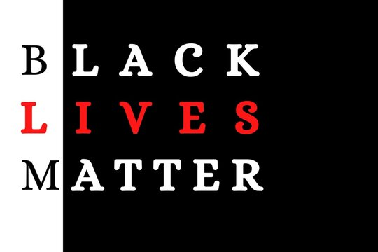 Black Lives Matter Illustration in White and red against a black colored background.