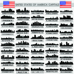 Complete Capitals USA Travel Skyline City Silhouette Design Collection Set