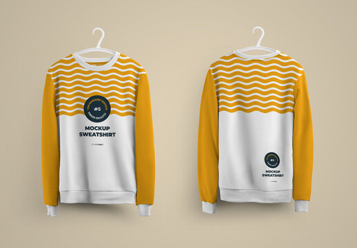 Mockup Sweatshirt Front and Back on Hanger