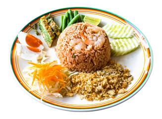 Obraz Thai food - Kao Cluk Ka Pi (Mixed Cooked Rice with Shrimp Paste Sauce) on white round dish - fototapety do salonu