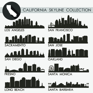 California USA Skyline Silhouette Icon Flat Vector Design Collection Set