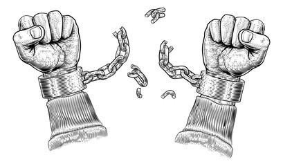 Hands breaking chains or shackle handcuffs in a vintage woodcut revolution propaganda poster style. Concept for freedom.