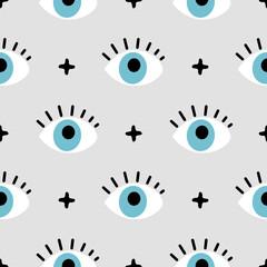 hand drawn eye doodles seamless pattern background, modern design vector illustration