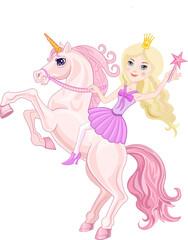 Foto op Plexiglas Zeemeermin Unicorn and stars. Stars and Beautiful unicorn