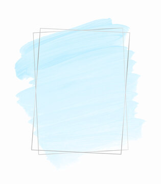 Brush paint creative background with silver frame. Isolated. Vector banner.