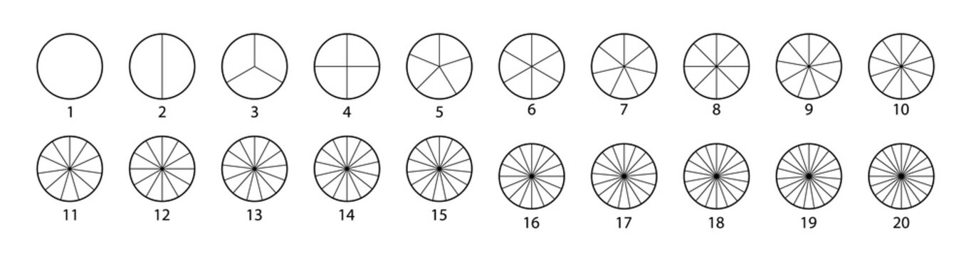 Segmented circles set isolated on a white background.Various number of sectors divide the circle on equal parts. Black thin outline graphics
