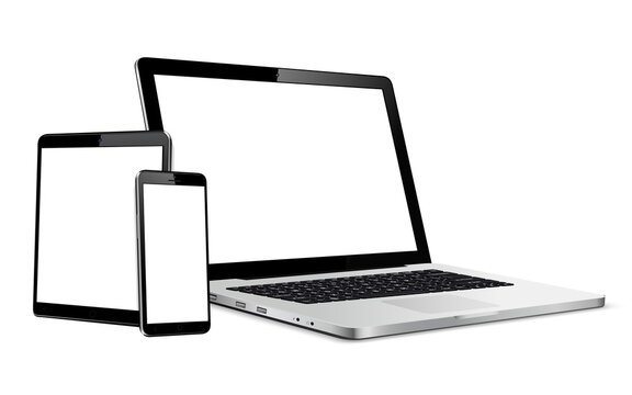 Set of blank screens with laptop, tablet, phone