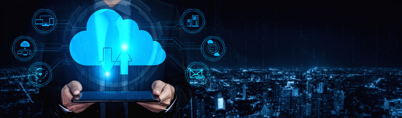 Cloud computing technology and online data storage for business network concept. Computer connects...