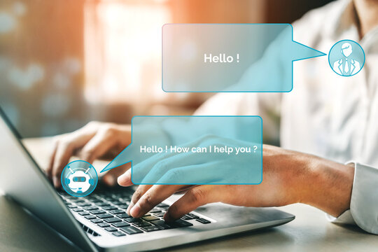 AI Chatbot smart digital customer service application concept. Computer or mobile device application using artificial intelligence chat bot automatic reply online message to help customers instantly.
