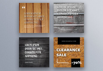 Social Media Post Layouts with Wooden and Metal Backgrounds