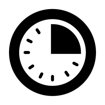 clock with quarter past icon, silhouette style
