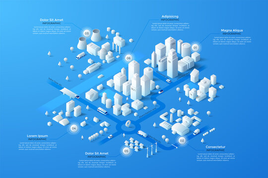 Vector isometric white city template