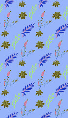 Bright color beautiful background. Tileable images from  colors and  herbs. Summer theme pattern.