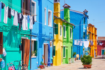 Wall Mural - Street with colorful houses with in Burano in Venice