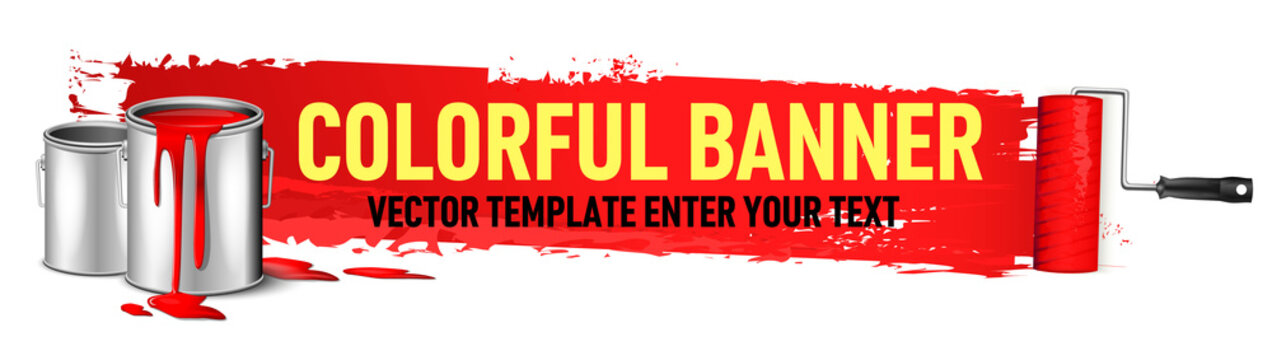 red colorful banner for advertising vector template. You can place your text and description of proposal here