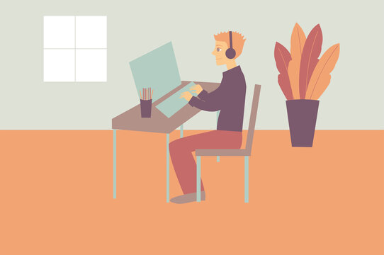 Freelance character working at home, work from home, self employed, home office, work at home.