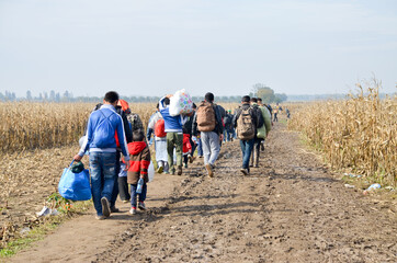 Refugees and migrants walking on fields. Group of refugees from Syria and Afghanistan on their way to EU. Balkan route. Thousands of refugees on border between Croatia and Serbia in autumn 2015.