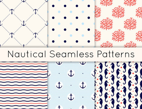 Set of 6 vector seamless nautical patterns with anchors, sea horses, corals, hearts, wavy lines and polka dot. Vintage maritime collection of backgrounds in minimalistic style.