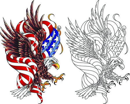 Stylized drawing american eagle with usa flag. Vector illustration in the style of military tattoos.