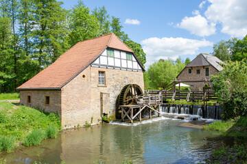 Historic watermill at Brake Castle in Lemgo, Westphalia, Germany, 05-26-2020