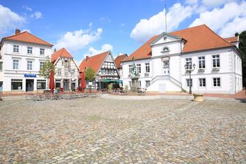 Historic downtown in Quakenbrück, Lower Saxony, Germany, 04-22-2020