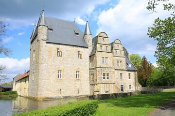 The historic Schelenburg Castle in Osnabrücker Land, Lower Saxony, Germany, 04-22-2020