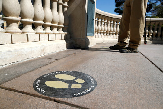 Social distancing markers are shown in a Bellagio fountains viewing area during the reopening of Bellagio hotel-casino, closed since March 16, 2020 as part of steps to slow the spread of the coronavirus disease (COVID-19), in Las Vegas