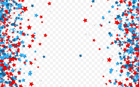 Celebration confetti in national colors of USA. Holiday confetti in US flag colors. 4th July independence day background