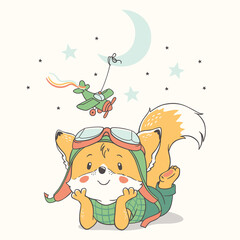 Vector illustration of a cute little red fox wearing flying goggles, dreaming of becoming a pilot.