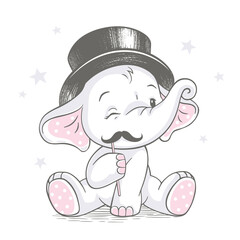 Vector hand drawn illustration of a cute baby elephant with mustache wearing top hat.