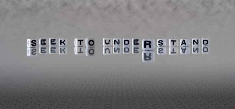seek to understand concept represented by black and white letter cubes on a grey horizon background stretching to infinity