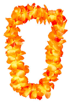orange hawaiian lei beads with vibrant colors isolated on a white background