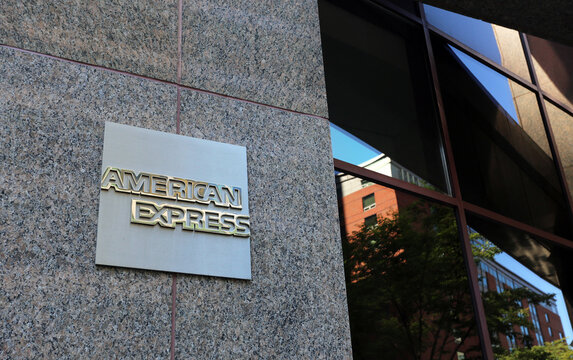 New York, NY, USA - July 16, 2017: The American Express Company headquarters. The American Express Company is an American multinational financial services corporation.
