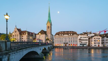 Wall Mural - Night to day time lapse of Zurich city in Switzerland