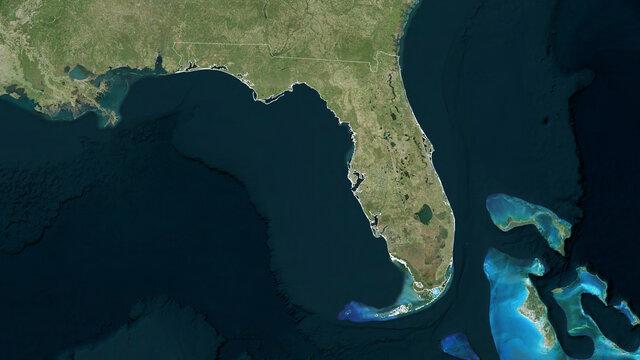 Florida, United States - outlined. Satellite