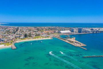 Foto auf Gartenposter Blau Jeans Aerial view of a port in Geraldton, Australia