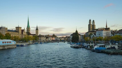 Wall Mural - Zurich city skyline with view of Limmat river in Switzerland.