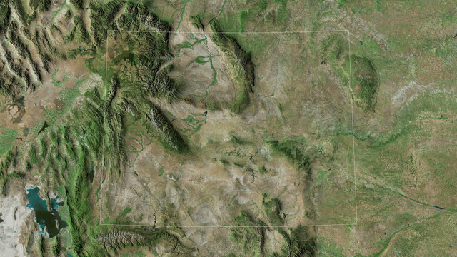 Wyoming, United States - outlined. Satellite
