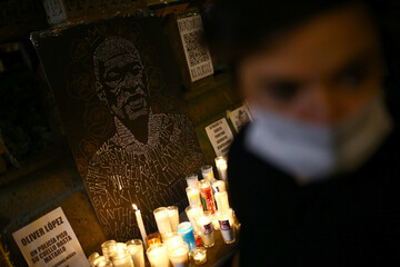 An image of George Floyd is pictured during a demonstration in Mexico City against his death in Minneapolis police custody
