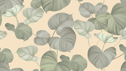Foliage seamless pattern, tropical plants on bright orange