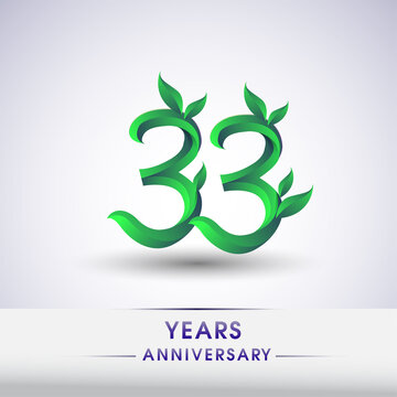 33rd years anniversary celebration logotype with leaf and green colored. Vector design for greeting card and invitation card on white background.