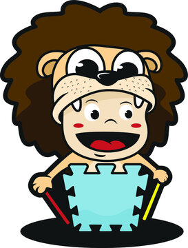Child playing with lion costum for toys bussines logo vector illustration