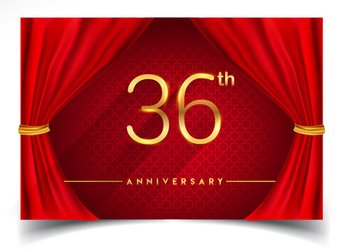36th years golden anniversary logo with glowing golden colors isolated on realistic red curtain, vector design for greeting card, poster and invitation card