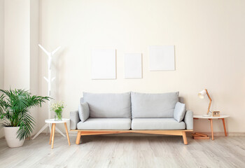 Wall Mural - Interior of modern living room with comfortable sofa