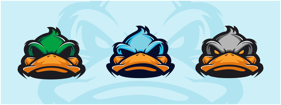Duck head logo set. Design element for company logo, label, emblem, apparel or other merchandise. Scalable and editable Vector illustration