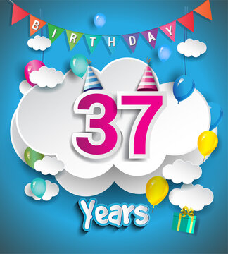 37th Anniversary Celebration Design, with clouds and balloons, confetti. Vector template elements for birthday celebration party.