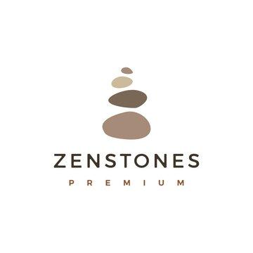 balancing rock zen stone stones logo vector icon illustration
